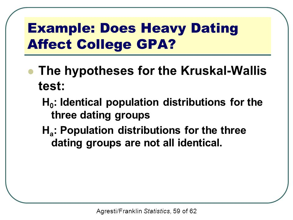 Agresti/Franklin Statistics, 59 of 62 Example: Does Heavy Dating Affect College GPA? The hypotheses for the Kruskal-Wallis test: H 0 : Identical popul