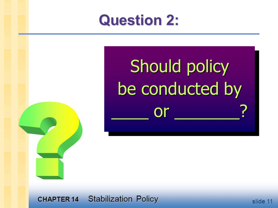 CHAPTER 14 Stabilization Policy slide 11 Question 2: Should policy be conducted by ____ or _______