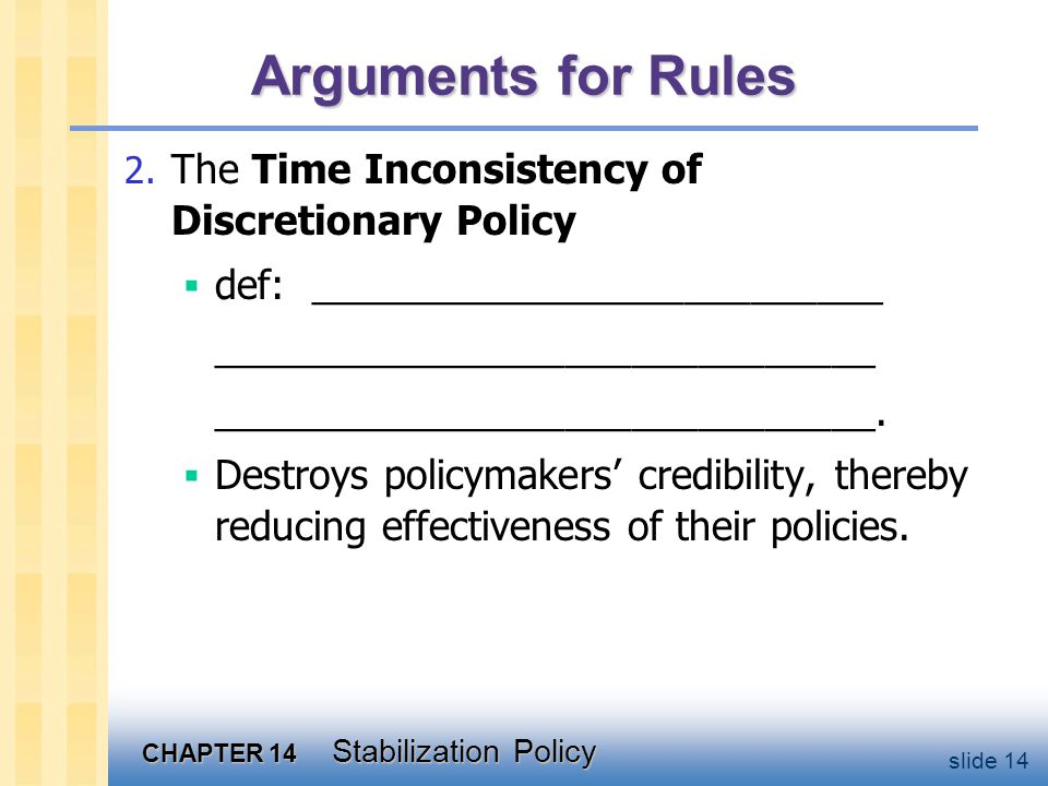 CHAPTER 14 Stabilization Policy slide 14 Arguments for Rules 2.