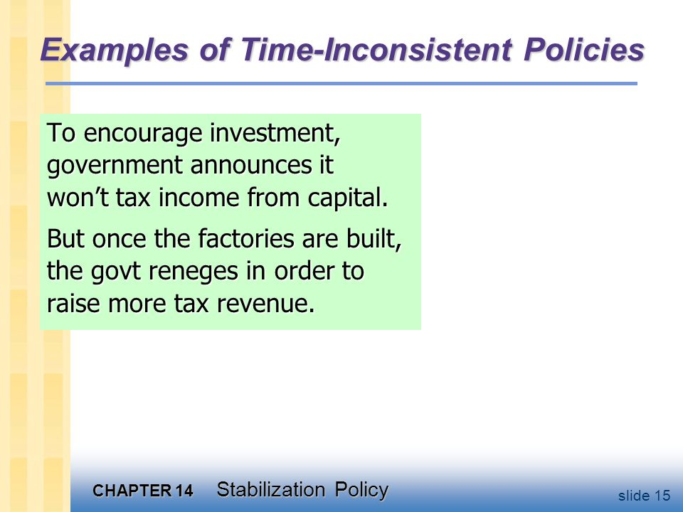 CHAPTER 14 Stabilization Policy slide 15 Examples of Time-Inconsistent Policies To encourage investment, government announces it won't tax income from capital.