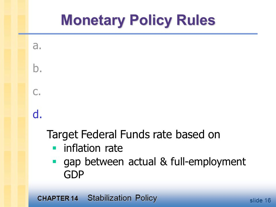 CHAPTER 14 Stabilization Policy slide 16 Monetary Policy Rules c.