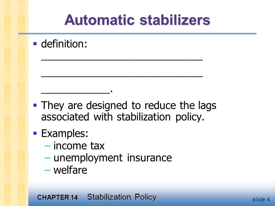 CHAPTER 14 Stabilization Policy slide 4 Automatic stabilizers  definition: ____________________________ ____________________________ ____________.
