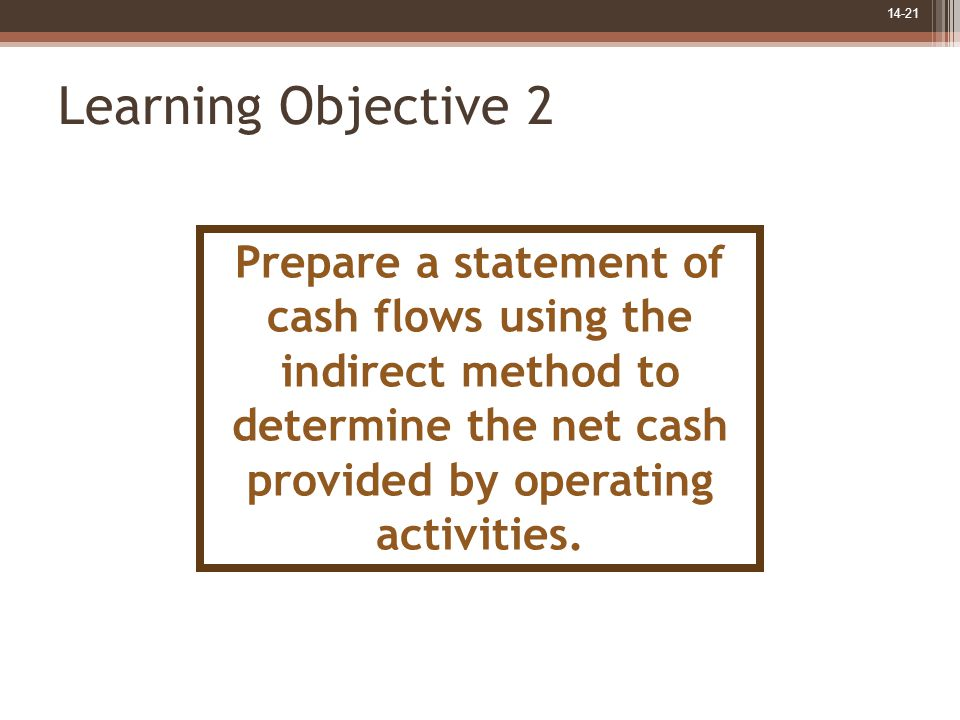 14-21 Learning Objective 2 Prepare a statement of cash flows using the indirect method to determine the net cash provided by operating activities.