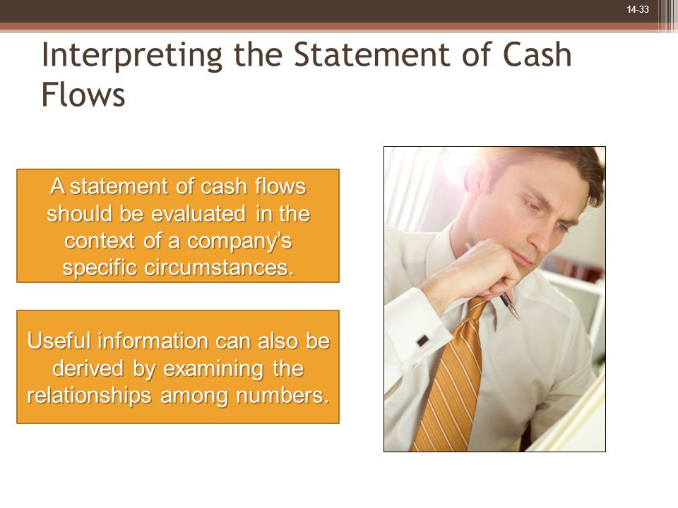 14-33 Interpreting the Statement of Cash Flows A statement of cash flows should be evaluated in the context of a company's specific circumstances. Use