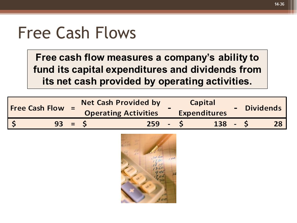 14-36 Free Cash Flows Free cash flow measures a company's ability to fund its capital expenditures and dividends from its net cash provided by operati