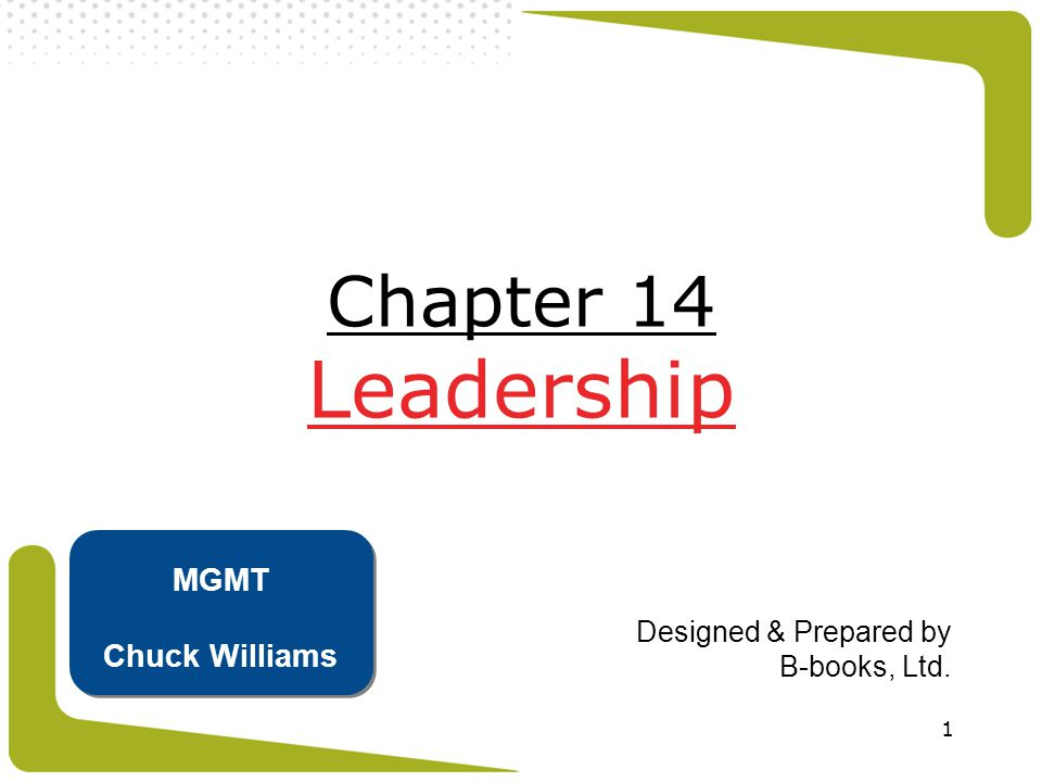 1 Chapter 14 Leadership Designed & Prepared by B-books, Ltd. MGMT Chuck Williams