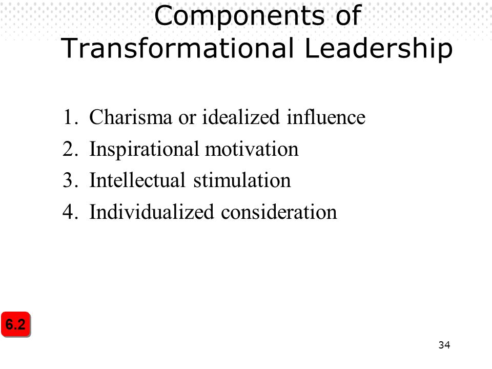 34 Components of Transformational Leadership 1.Charisma or idealized influence 2.Inspirational motivation 3.Intellectual stimulation 4.Individualized consideration 6.2