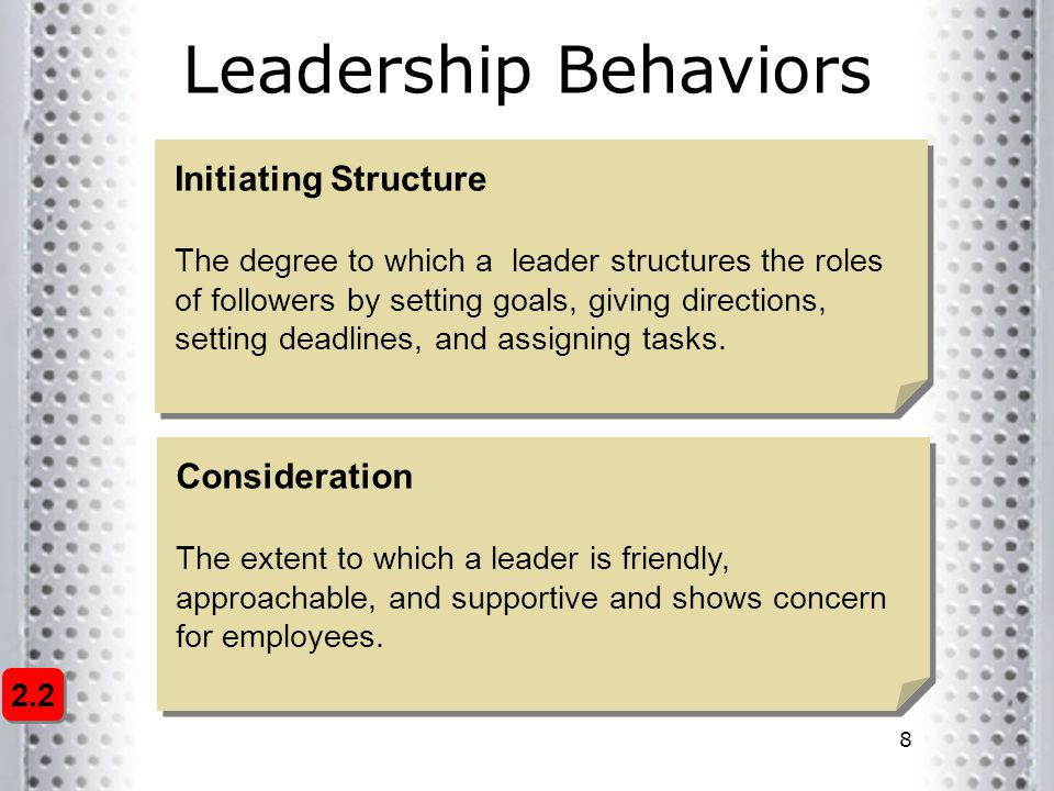 8 Leadership Behaviors Initiating Structure The degree to which a leader structures the roles of followers by setting goals, giving directions, setting deadlines, and assigning tasks.