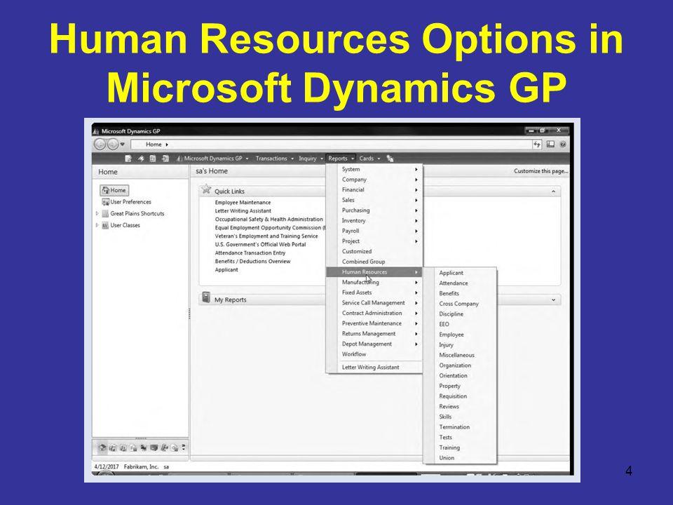 Human Resources Options in Microsoft Dynamics GP 4