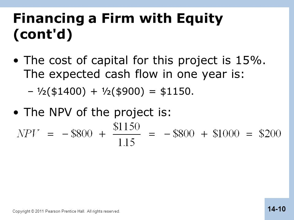 Copyright © 2011 Pearson Prentice Hall. All rights reserved. 14-10 Financing a Firm with Equity (cont'd) The cost of capital for this project is 15%.