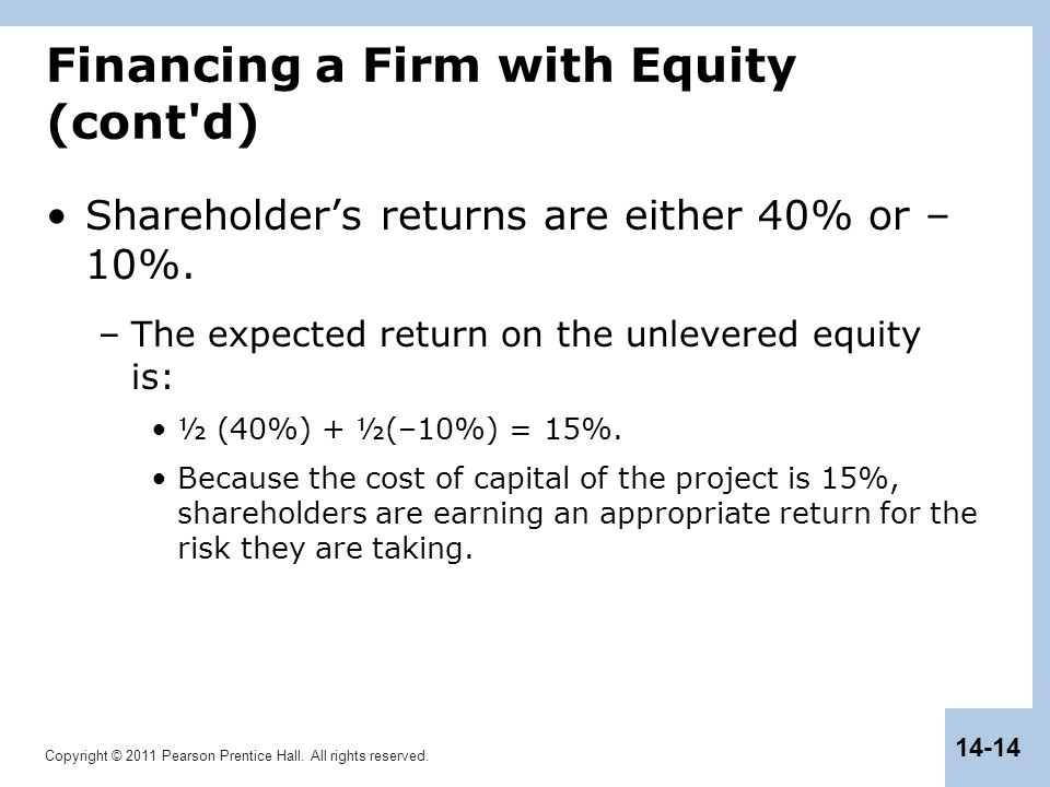 Copyright © 2011 Pearson Prentice Hall. All rights reserved. 14-14 Financing a Firm with Equity (cont'd) Shareholder's returns are either 40% or – 10%