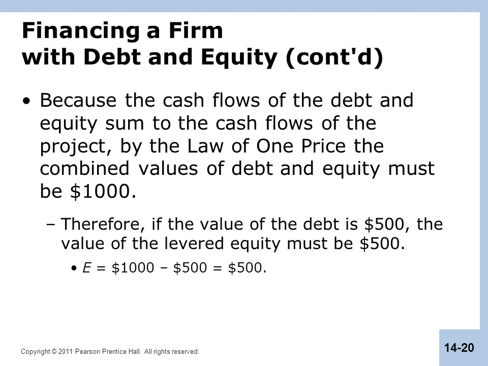 Copyright © 2011 Pearson Prentice Hall. All rights reserved. 14-20 Financing a Firm with Debt and Equity (cont'd) Because the cash flows of the debt a