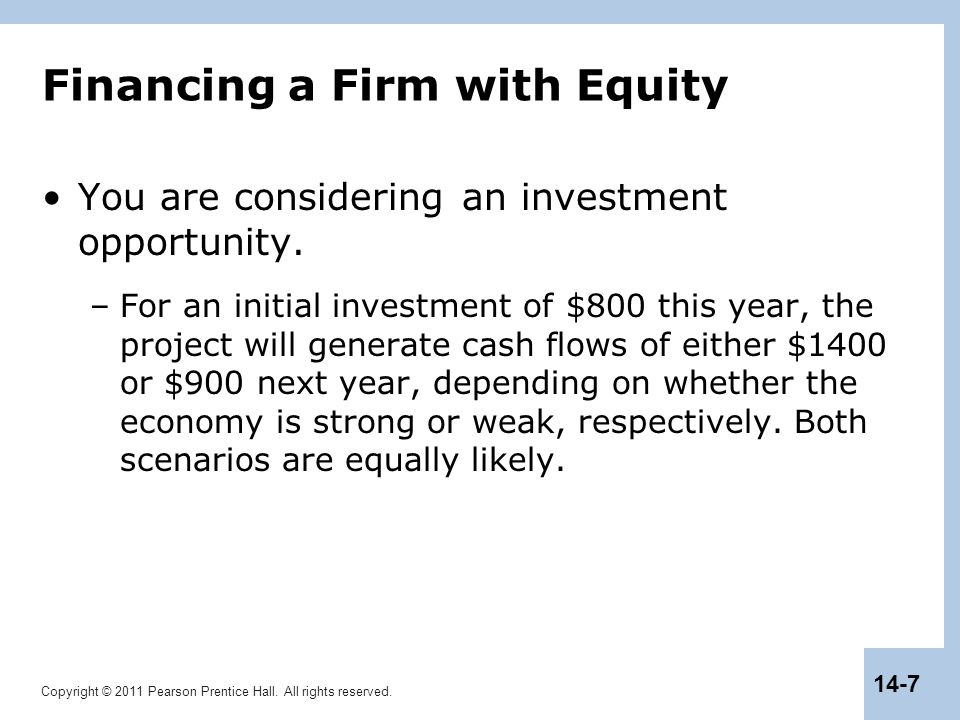 Copyright © 2011 Pearson Prentice Hall. All rights reserved. 14-7 Financing a Firm with Equity You are considering an investment opportunity. –For an