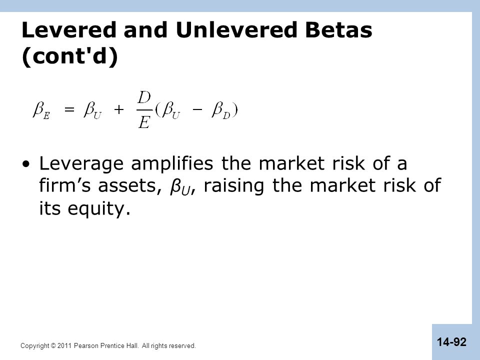Copyright © 2011 Pearson Prentice Hall. All rights reserved. 14-92 Levered and Unlevered Betas (cont'd) Leverage amplifies the market risk of a firm's