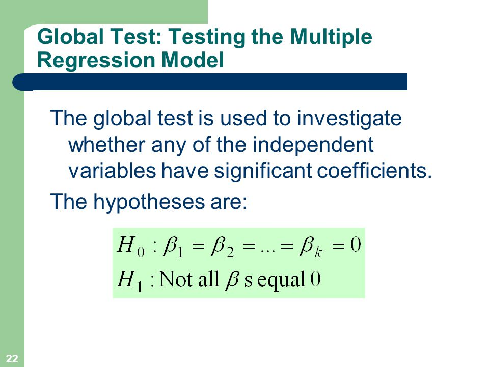 22 Global Test: Testing the Multiple Regression Model The global test is used to investigate whether any of the independent variables have significant