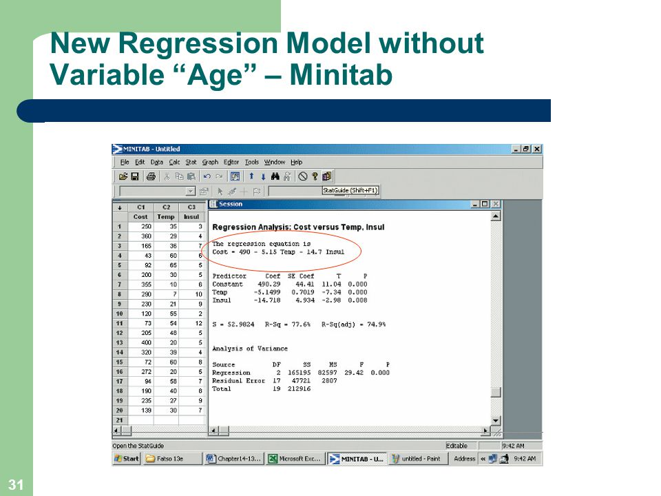 """31 New Regression Model without Variable """"Age"""" – Minitab"""