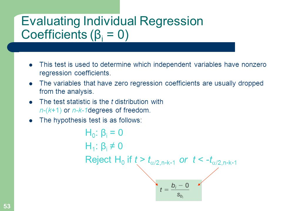 53 Evaluating Individual Regression Coefficients (β i = 0) This test is used to determine which independent variables have nonzero regression coeffici