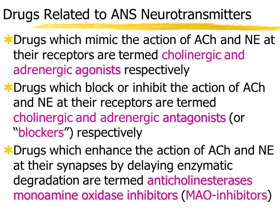 Drugs Related to ANS Neurotransmitters  Table 14-3, p.
