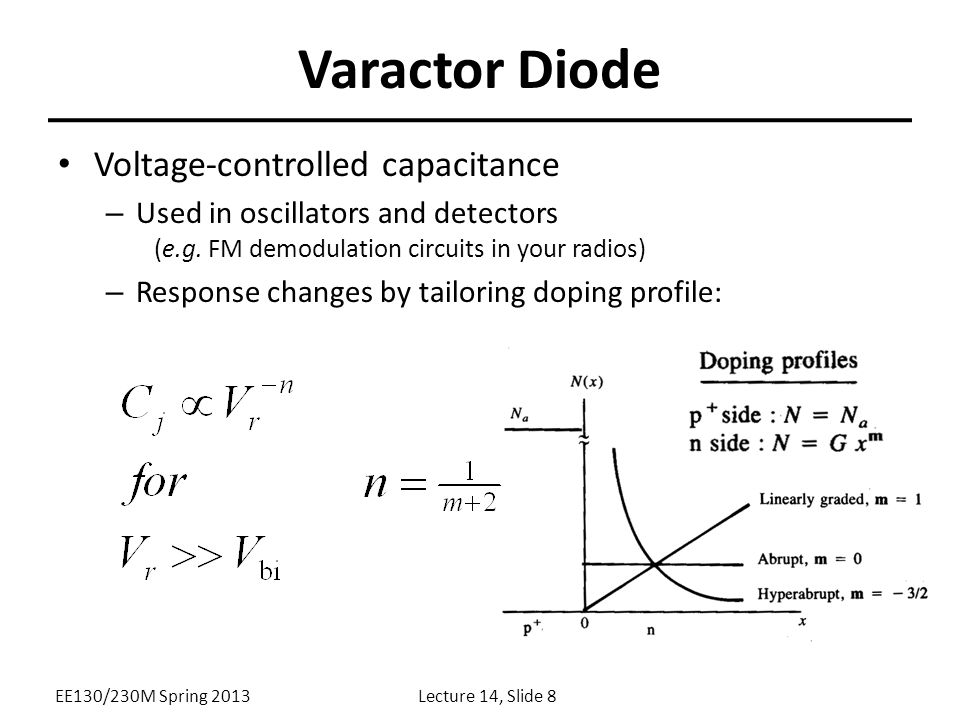 Varactor Diode Voltage-controlled capacitance – Used in oscillators and detectors (e.g.