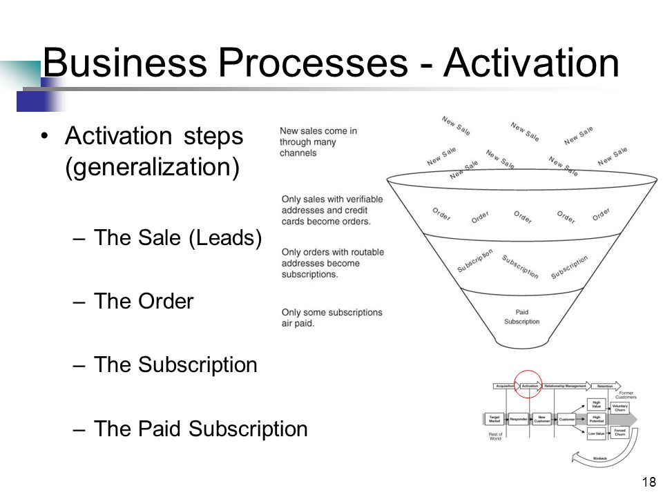 18 Business Processes - Activation Activation steps (generalization) –The Sale (Leads) –The Order –The Subscription –The Paid Subscription