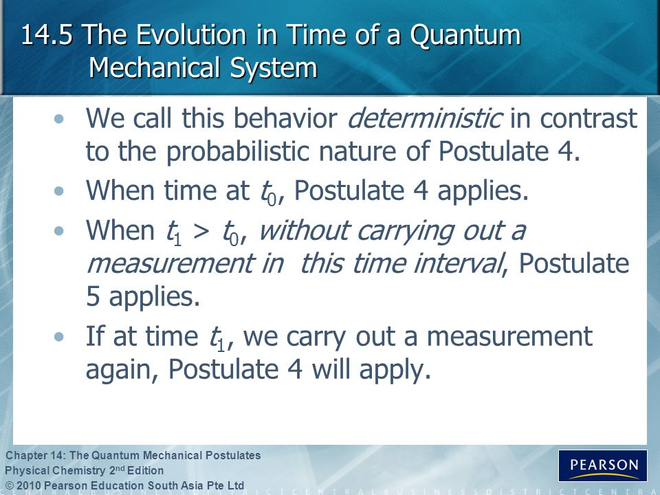 © 2010 Pearson Education South Asia Pte Ltd Physical Chemistry 2 nd Edition Chapter 14: The Quantum Mechanical Postulates 14.5 The Evolution in Time o