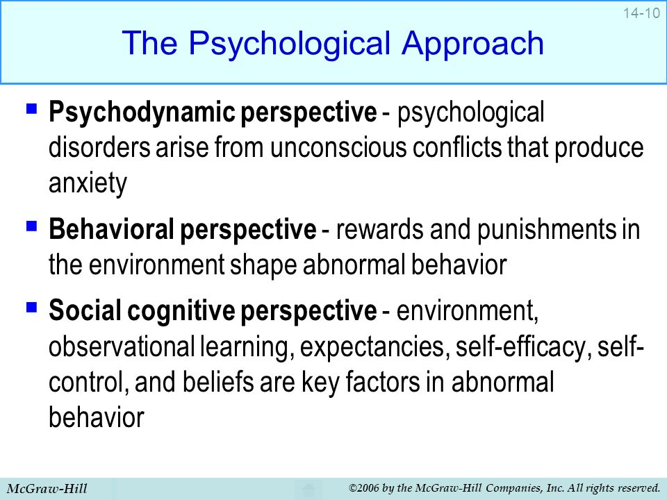 McGraw-Hill ©2006 by the McGraw-Hill Companies, Inc. All rights reserved. 14-10 The Psychological Approach  Psychodynamic perspective - psychological