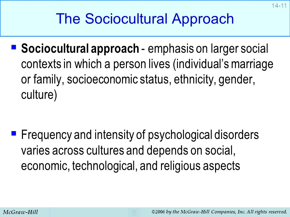 McGraw-Hill ©2006 by the McGraw-Hill Companies, Inc. All rights reserved. 14-11 The Sociocultural Approach  Sociocultural approach - emphasis on larg