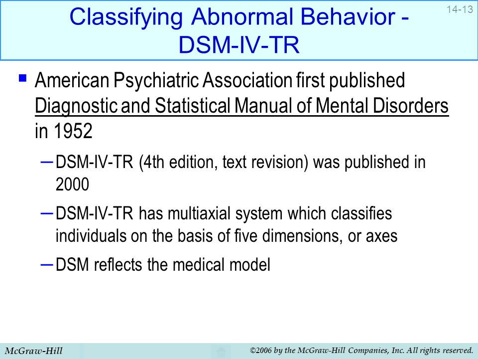 McGraw-Hill ©2006 by the McGraw-Hill Companies, Inc. All rights reserved. 14-13 Classifying Abnormal Behavior - DSM-IV-TR  American Psychiatric Assoc