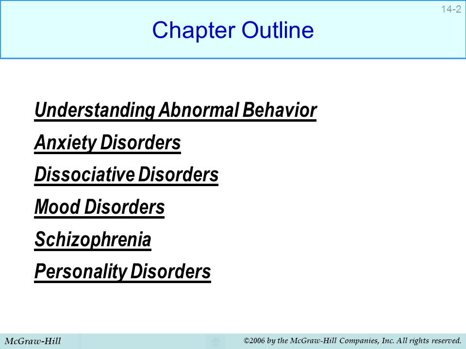 McGraw-Hill ©2006 by the McGraw-Hill Companies, Inc. All rights reserved. 14-2 Chapter Outline Understanding Abnormal Behavior Anxiety Disorders Disso