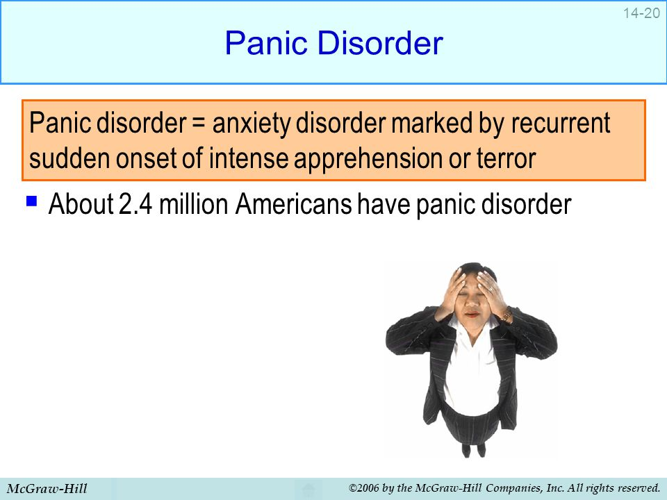 McGraw-Hill ©2006 by the McGraw-Hill Companies, Inc. All rights reserved. 14-20 Panic Disorder  About 2.4 million Americans have panic disorder Panic