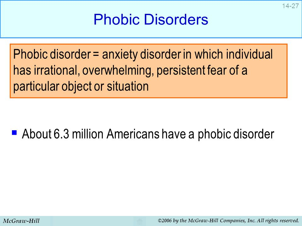 McGraw-Hill ©2006 by the McGraw-Hill Companies, Inc. All rights reserved. 14-27 Phobic Disorders  About 6.3 million Americans have a phobic disorder