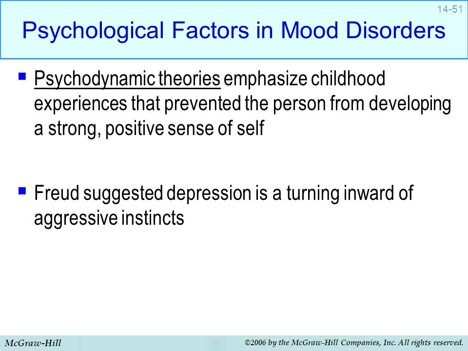McGraw-Hill ©2006 by the McGraw-Hill Companies, Inc. All rights reserved. 14-51 Psychological Factors in Mood Disorders  Psychodynamic theories empha
