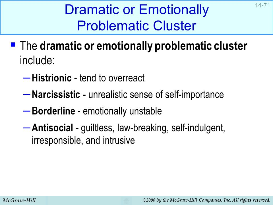 McGraw-Hill ©2006 by the McGraw-Hill Companies, Inc. All rights reserved. 14-71 Dramatic or Emotionally Problematic Cluster  The dramatic or emotiona
