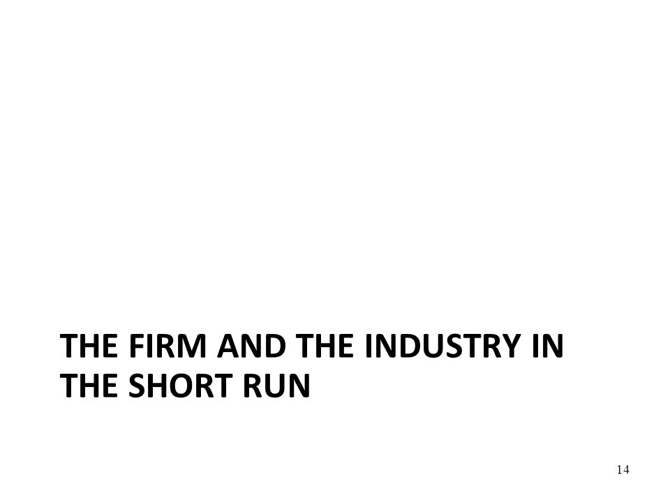 THE FIRM AND THE INDUSTRY IN THE SHORT RUN 14