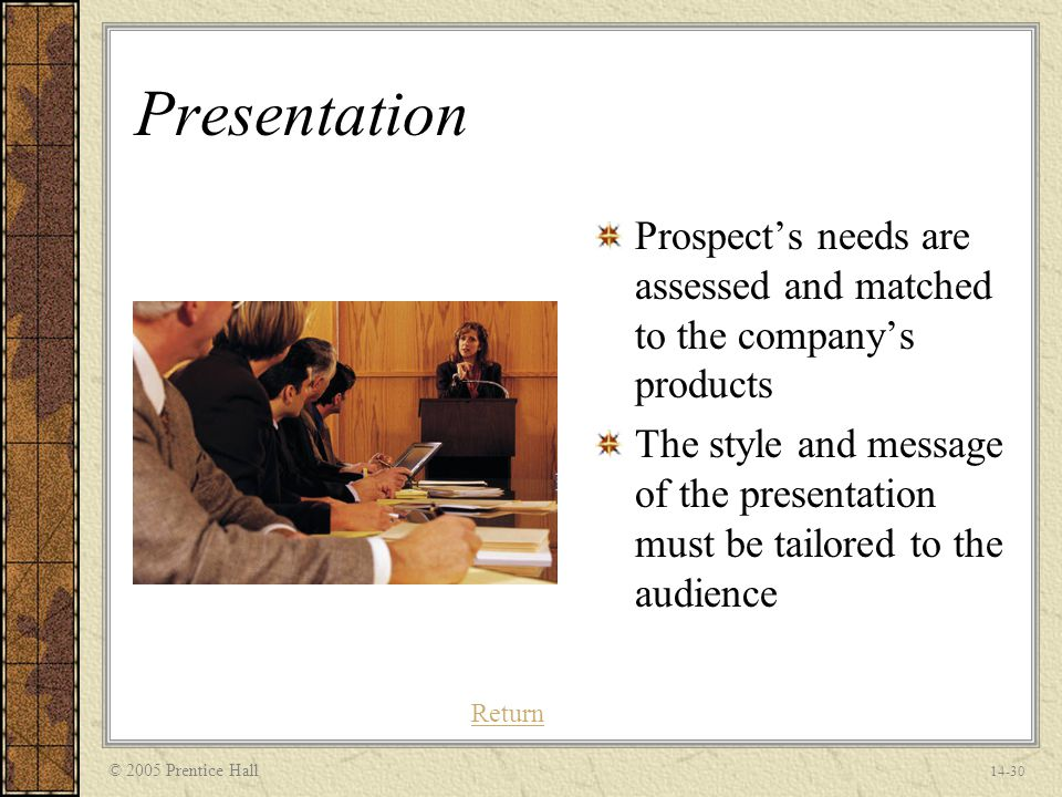 © 2005 Prentice Hall 14-30 Presentation Prospect's needs are assessed and matched to the company's products The style and message of the presentation must be tailored to the audience Return