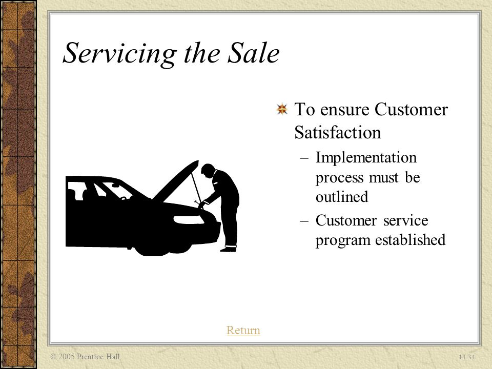 © 2005 Prentice Hall 14-34 Servicing the Sale To ensure Customer Satisfaction –Implementation process must be outlined –Customer service program established Return