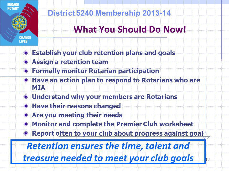 District 5240 Membership 2013-14 13 What You Should Do Now.