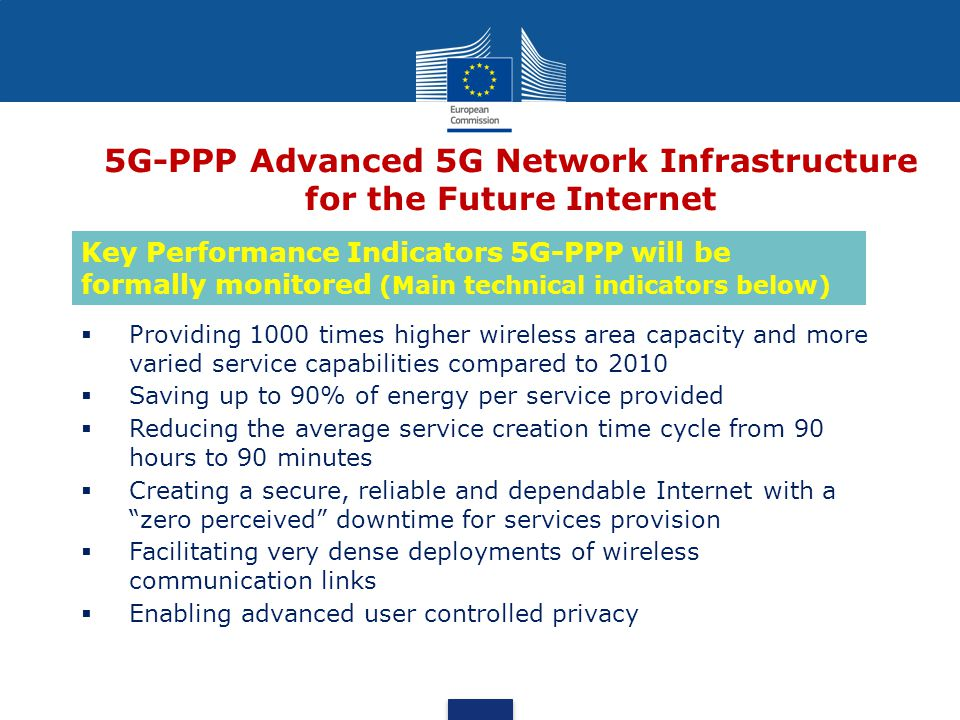5G-PPP Advanced 5G Network Infrastructure for the Future Internet  Providing 1000 times higher wireless area capacity and more varied service capabilities compared to 2010  Saving up to 90% of energy per service provided  Reducing the average service creation time cycle from 90 hours to 90 minutes  Creating a secure, reliable and dependable Internet with a zero perceived downtime for services provision  Facilitating very dense deployments of wireless communication links  Enabling advanced user controlled privacy Key Performance Indicators 5G-PPP will be formally monitored (Main technical indicators below)