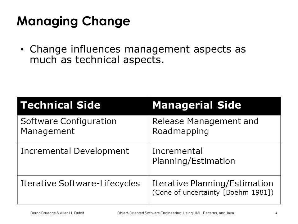 Bernd Bruegge & Allen H. Dutoit Object-Oriented Software Engineering: Using UML, Patterns, and Java 4 Managing Change Change influences management asp