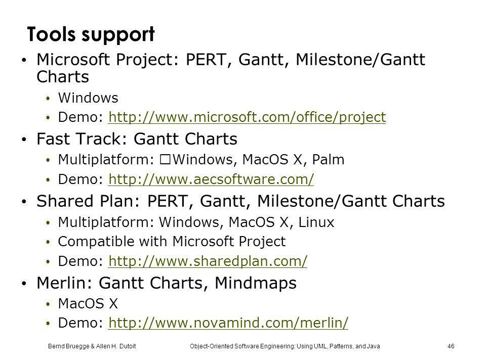Bernd Bruegge & Allen H. Dutoit Object-Oriented Software Engineering: Using UML, Patterns, and Java 46 Tools support Microsoft Project: PERT, Gantt, M