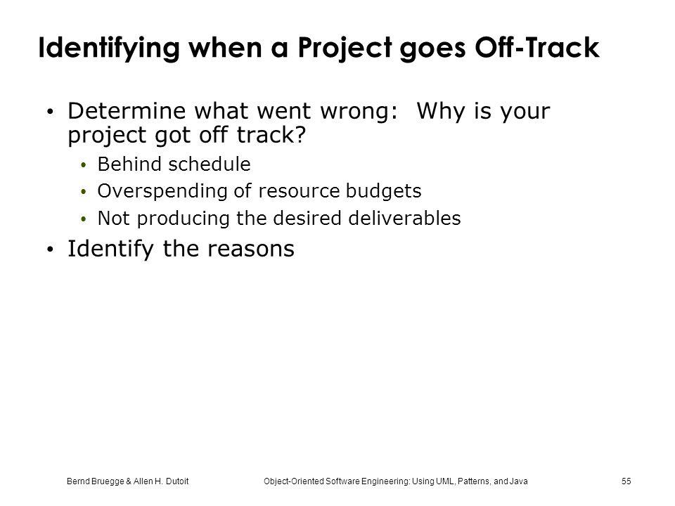 Bernd Bruegge & Allen H. Dutoit Object-Oriented Software Engineering: Using UML, Patterns, and Java 55 Identifying when a Project goes Off-Track Deter
