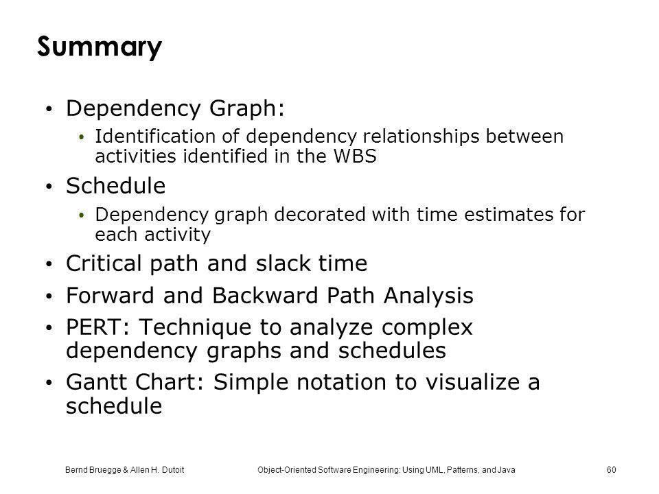 Bernd Bruegge & Allen H. Dutoit Object-Oriented Software Engineering: Using UML, Patterns, and Java 60 Summary Dependency Graph: Identification of dep