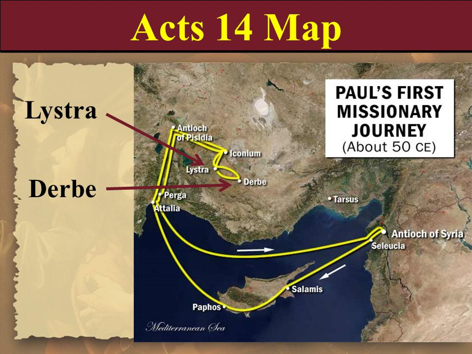 Acts 14 Map Lystra Derbe