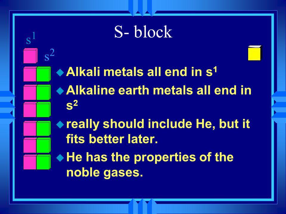 u Alkali metals all end in s 1 u Alkaline earth metals all end in s 2 u really should include He, but it fits better later. u He has the properties of