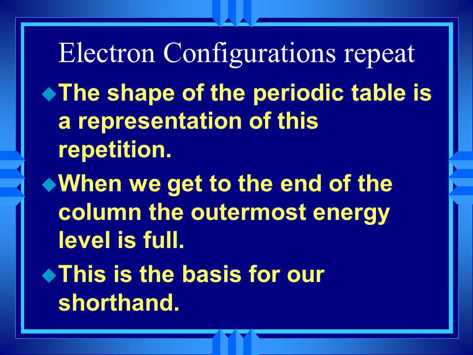 Electron Configurations repeat u The shape of the periodic table is a representation of this repetition. u When we get to the end of the column the ou