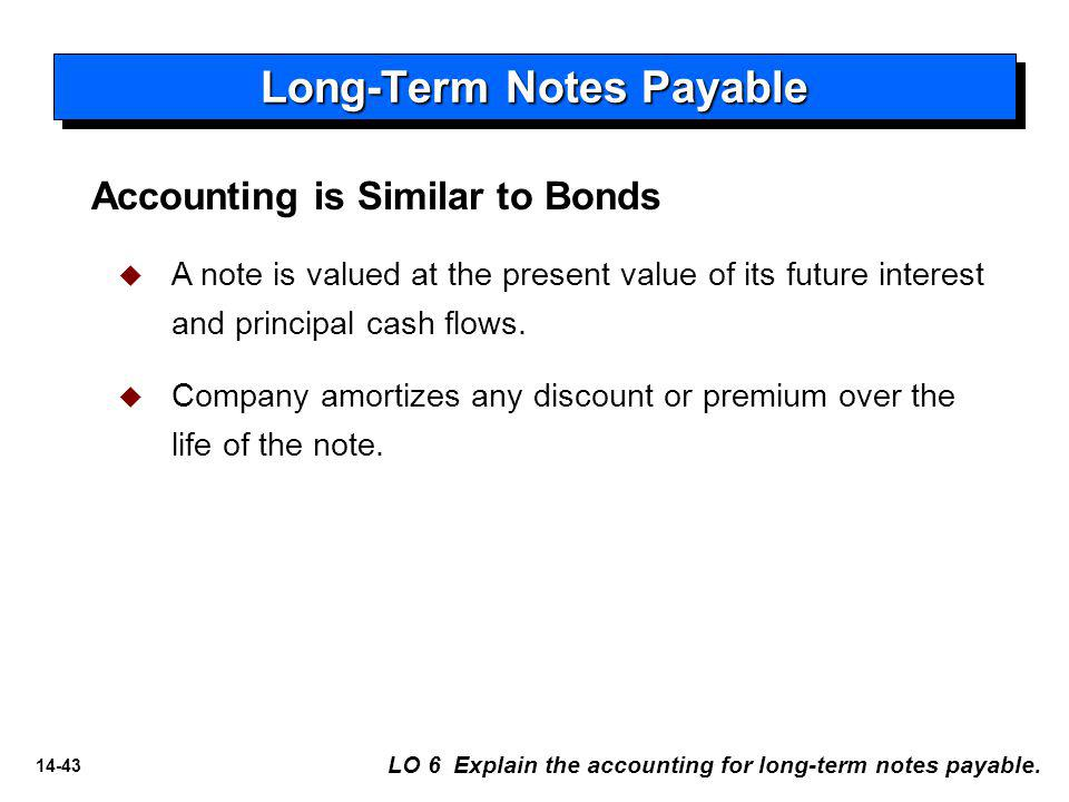 14-43 Long-Term Notes Payable Accounting is Similar to Bonds   A note is valued at the present value of its future interest and principal cash flows.