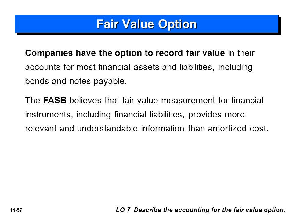14-57 Fair Value Option LO 7 Describe the accounting for the fair value option.