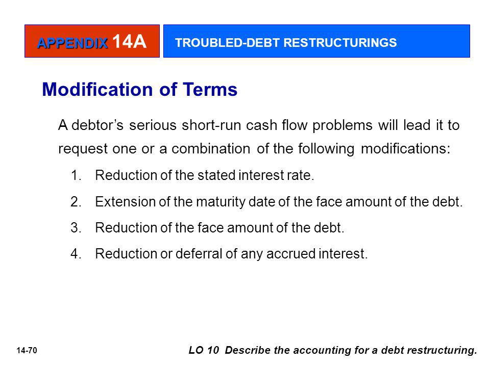 14-70 Modification of Terms A debtor's serious short-run cash flow problems will lead it to request one or a combination of the following modifications: 1.