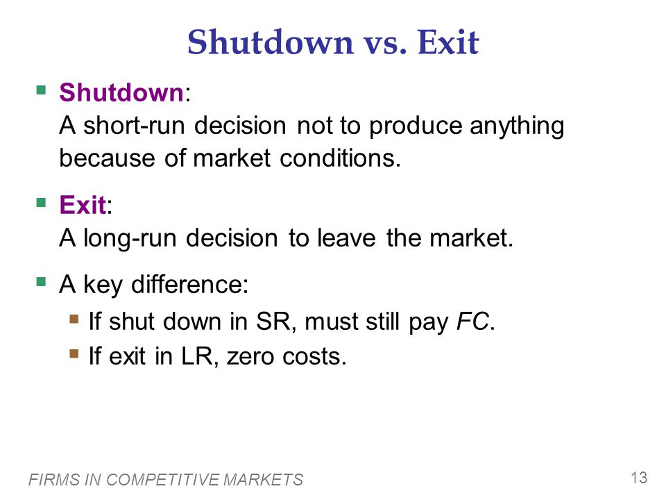 FIRMS IN COMPETITIVE MARKETS 13 Shutdown vs.