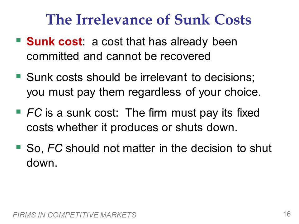 FIRMS IN COMPETITIVE MARKETS 16 The Irrelevance of Sunk Costs  Sunk cost: a cost that has already been committed and cannot be recovered  Sunk costs should be irrelevant to decisions; you must pay them regardless of your choice.